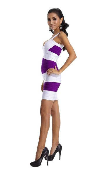 purple and white bandage dress - on model