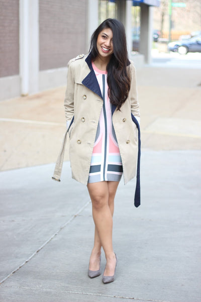 bandage dress and overcoat