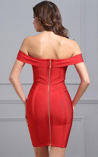 red lace up front bandage dress - back view on model