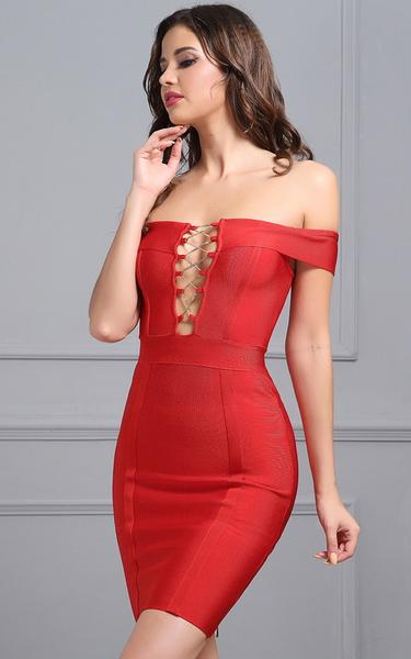 red lace up front bandage dress - front view on model