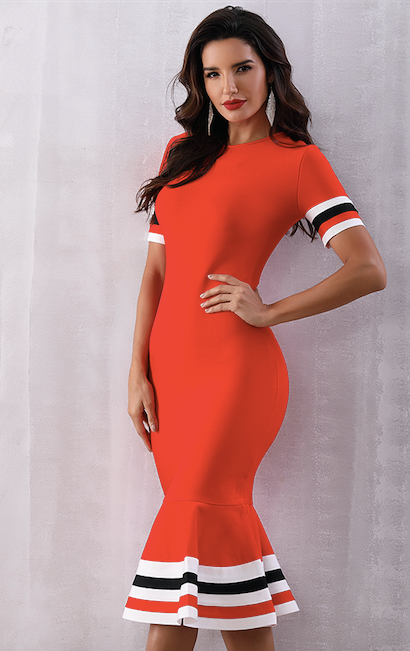 summer red mermaid flared bandage dress - side view