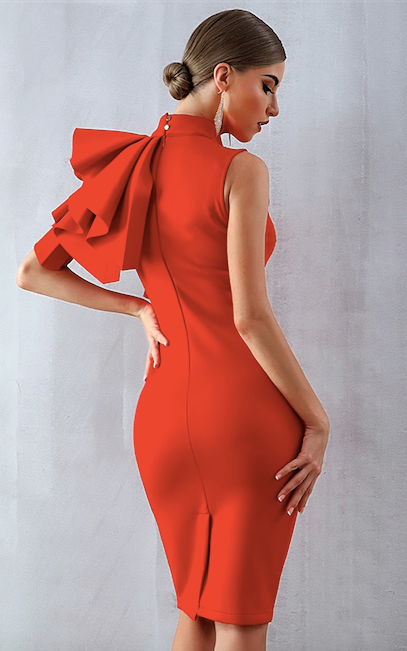 red shoulder ruffled bodycon dress - back view