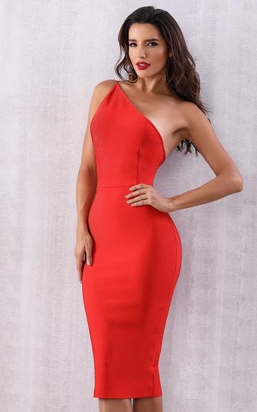 red one shoulder backless bandage dress - front view on model