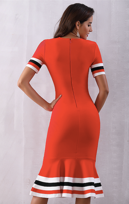 summer red mermaid flared bandage dress - back view