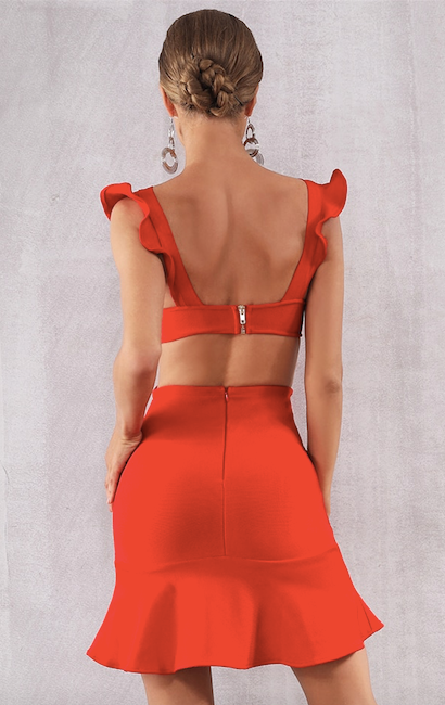 short backless flared bandage dress - back view