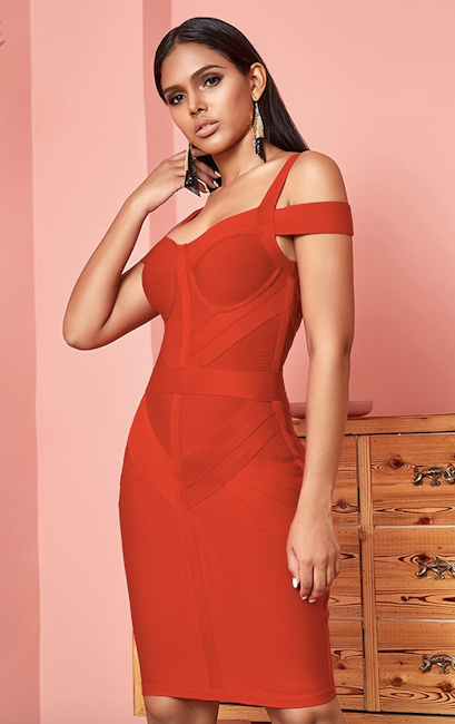 Red off shoulder spaghetti strap bandage dress - side view