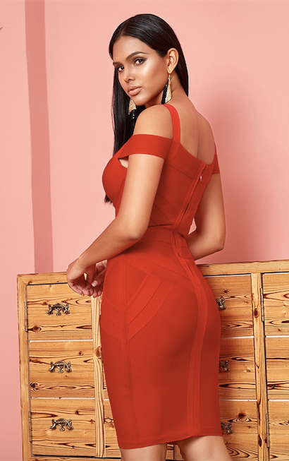 Red off shoulder spaghetti strap bandage dress - back view