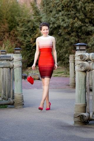 red gradient dress - front view