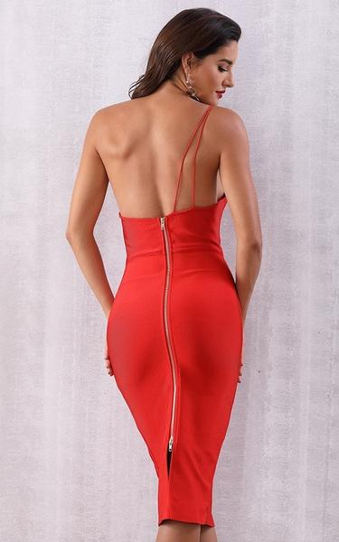red one shoulder backless bandage dress - back view on model