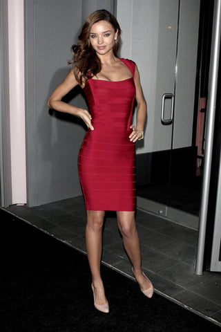 miranda kerr red bandage dress
