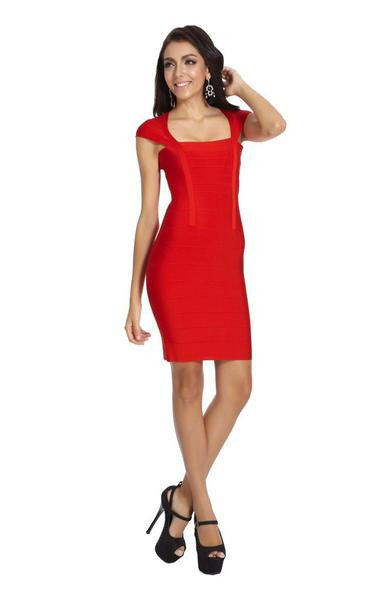 red cap sleeve dress bandage