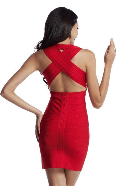red criss cross back dress - back view