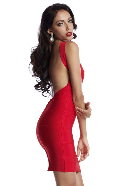 red dress displays confident sex appeal
