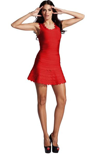 red flare dress - full length