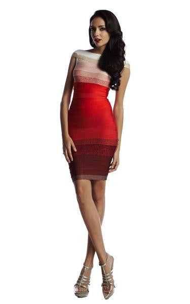 red gradient dress on model