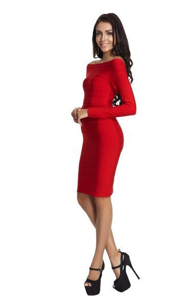 red long sleeve bandage dress on model