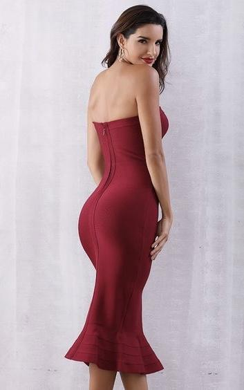 red mermaid sheath bandage dress - back view