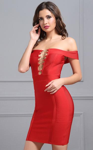 9a0822a8c4 red off the shoulder bandage dress. red lace up front ...