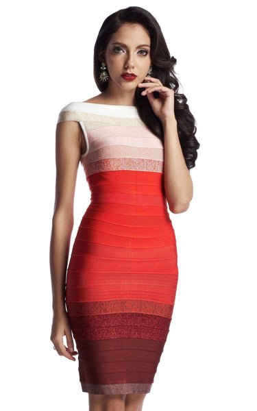 red ombre bandage dress