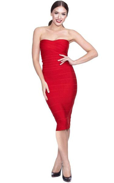 red strapless bodycon dress - on model