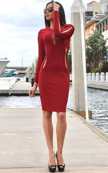 red studded dress