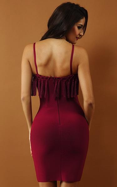 tassel bandage dress - back view on model
