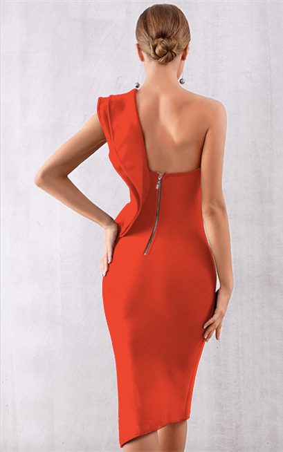 red one shoulder bandage dress - rear view