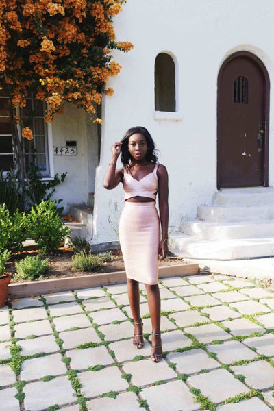 rose gold two piece bandage dress