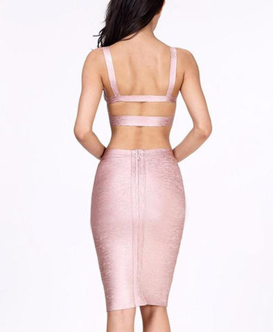 rose gold two piece dress - back