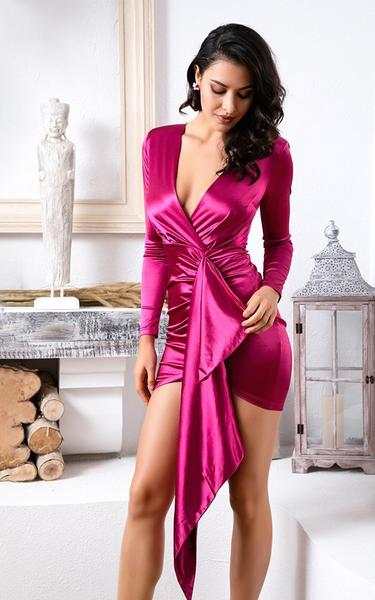 rose colored bodycon wrap dress on model