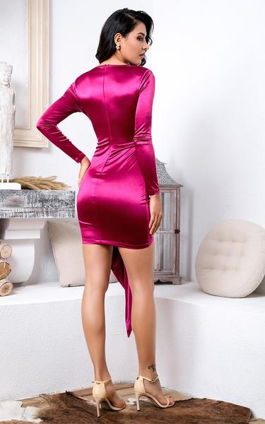 rose pink colored bodycon dress back view on model