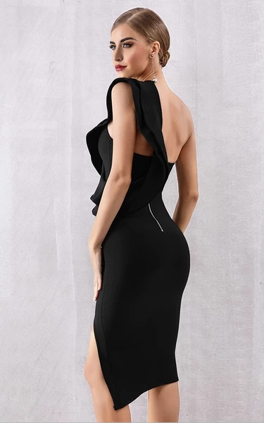 Black asymmetrical shoulder bandage dress with thigh split - side view