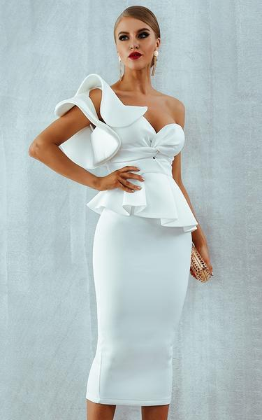 white ruffles bodycon dress - front view on model