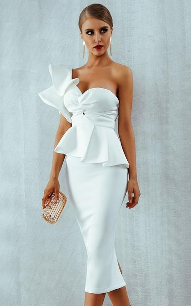 white ruffles bodycon dress - side view on model