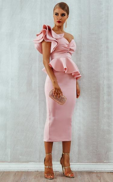 pink ruffles bodycon dress - side view on model