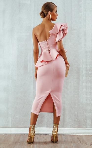 pink ruffles bodycon dress - back view on model