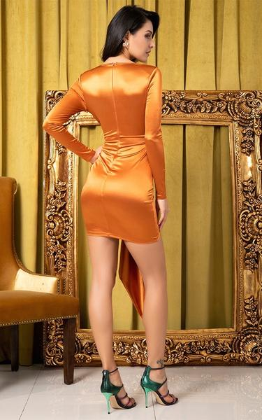 rust colored bodycon dress back view on model