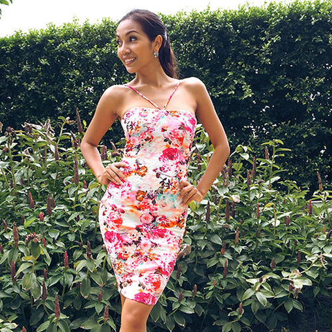summer floral bodycon dress