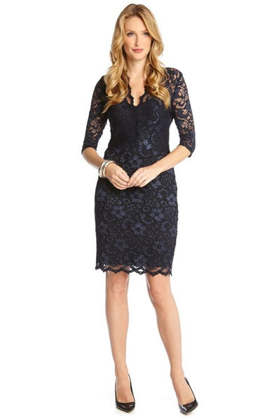 long sleeve lace sheath dress on model