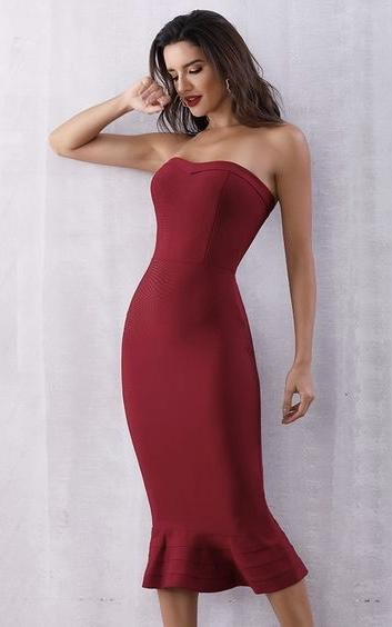 sheath style bandage dress with flare