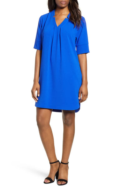 blue shirt dress on a model