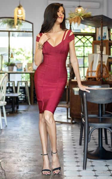 red strappy off shoulder bandage dress - front view