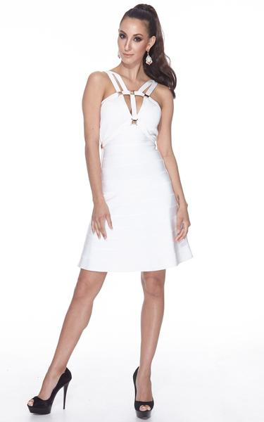 short white A-line dress - on model