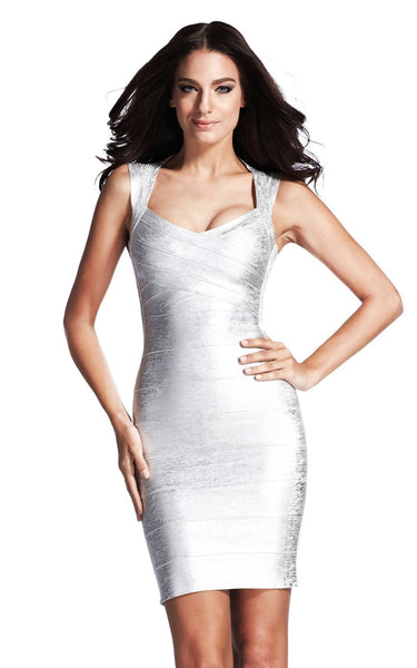 silver foil weave bandage dress