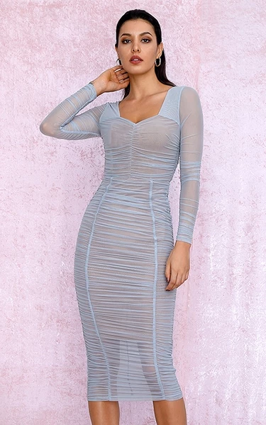 Shimmering blue mesh bodycon dress - front view
