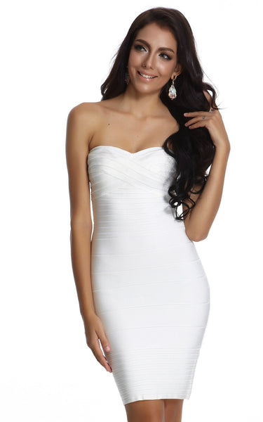 strapless bandage dress in white showing off collarbones