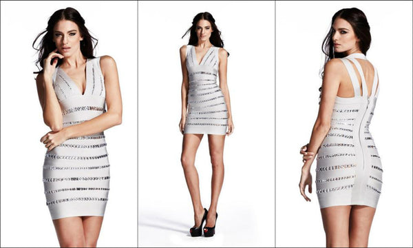 grey sequin bandage dress