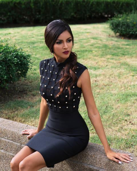 black bodycon dress with gold studs