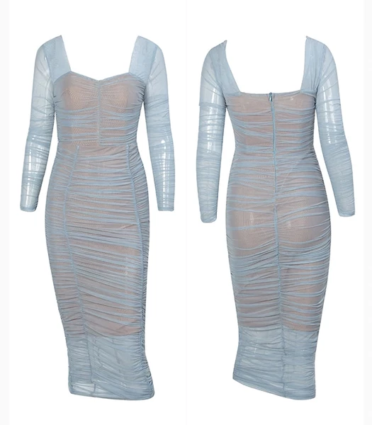Shimmering blue mesh bodycon dress - style example