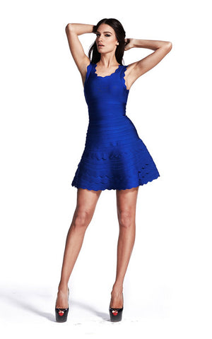 blue flared bandage dress